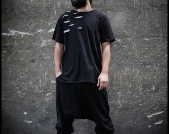Nux T Shirt (post apocalyptic fashion-black men top-cropped t shirt-street fashion-underground-alternative wear for men-festival wear)