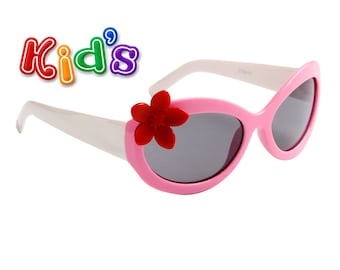 Kid's Pink and White Embellished Sunglasses for Girls with Red Flower 100% UV Protection