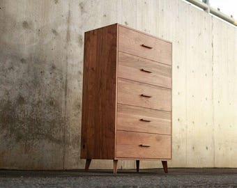 Highboy Dresser, 5-Drawers, Mid-Century Modern, Walnut