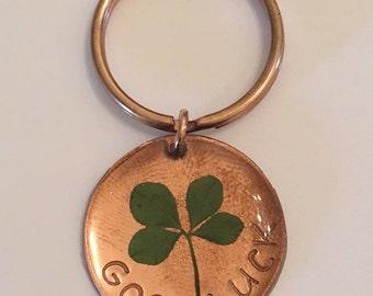 Good Luck Real Four Leaf Clover Keychain