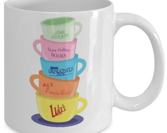 Gilmore Girls Cups Collection Gilmore Girls Mug (White) 11oz Gilmore Girls Coffee Mug - Gilmore Girls Gift Cup Stars Hollow Luke's Diner Mug