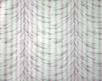 1/4 - 1/2 YARD, COTTON PRINT, Purple and White Gathered Wavy Stripes, Quilting or Craft Fabric, Medium Wt, B9