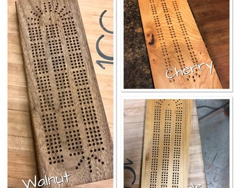 Cribbage Board, Handmade Walnut, Maple, or Cherry, Continuous Track with Metal Playing Pegs/Storage. 3 or 4 tracks. Engraving available.
