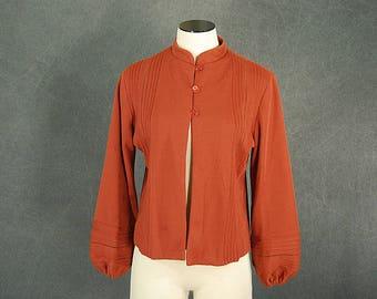 vintage 60s Cardigan - 1960s Brick Red Jersey Knit Sweater  SZ M