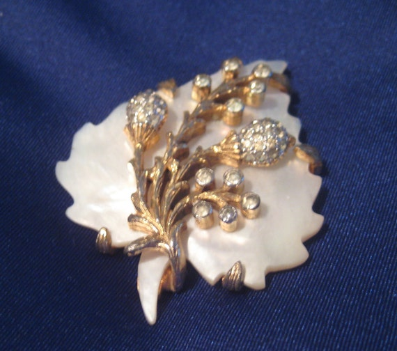 Rare and Special Rosenstein Shell and Rhinestone Brooch