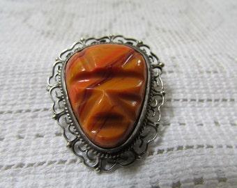 Vintage unusual Mexican carved face  mask sterling brooch pendant estate find