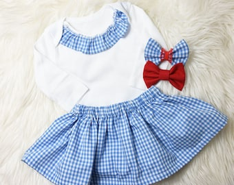 Girls Dorothy Halloween Skirt and bow Set- Dorothy Halloween costume, blue gingham skirt and top, Dorothy bodysuit