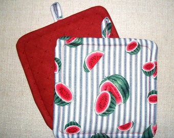 Watermelon, Insulated Pot Holders, Set of 2, Hot Pad, Trivet, Potholder, For the Kitchen, For the Cook
