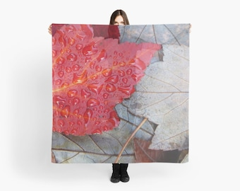 Red Brown Gray Scarf ~ Red Leaf Wearable Art ~ Taupe Scarf ~ Women's Accessory Gift Idea ~ Square Scarf ~ Maple Leaves Print ~ Nature Photo