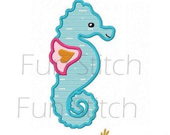 Seahorse applique machine embroidery design instant download