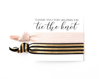 Gold Foil Hair Tie Bridesmaid Gifts | Modern Gold Stripe Hair Tie Favors, Wedding + Bridal Shower Favor, Blush Pink White Gold Foil Neutrals