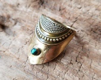 Brass Shield Ring with Malachite