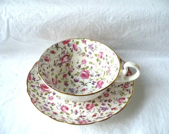 Pink Floral Tea Cup and Saucer, Vintage Radford Porcelain,  Tea Cup and Saucer, English Bone China
