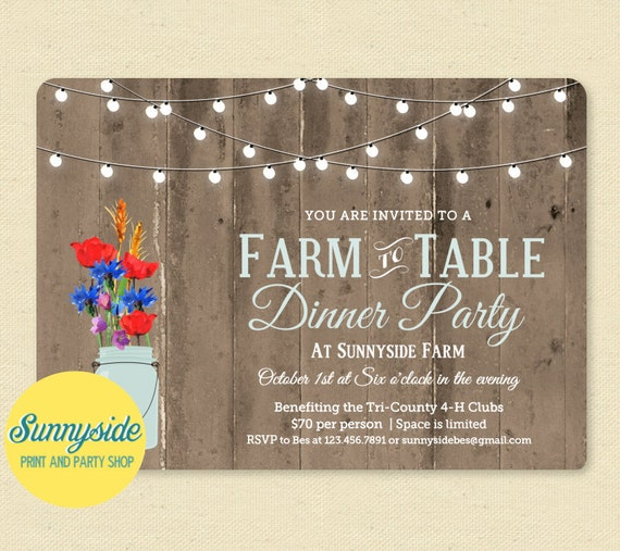 Farm To Table Dinner Invitation Printable Invitation Rustic