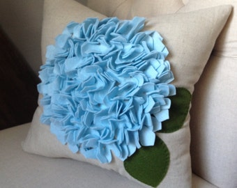 Hydrangea pillow in oatmeal linen and ice blue