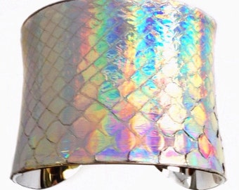 Metallic Silver Opalescent Snakeskin Cuff bracelet  - by UNEARTHED