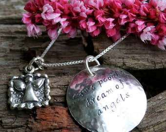 Miscarriage Memorial Necklace - Some People Dream of Angels - for Baby Loss