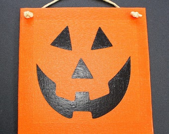 Pumpkin Face - Canvas Sign - Vinyl Letters - 6 x 6 - Jack-o-lantern Face