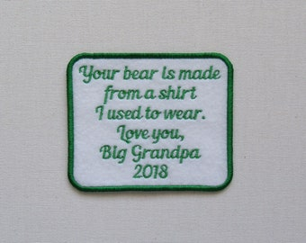 Your Bear is made from shirt I used to wear-Black Red Blue Pink Purple Green Orange Text Color-SEW ON Memory Patch -Custom Wording Welcome