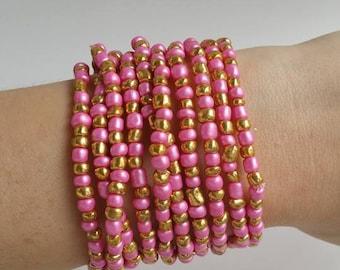 Layering Bracelets - Basics - Friendship Stacking Bracelets - Golden and Pink