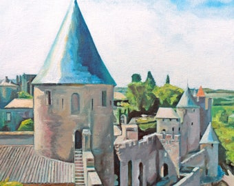 Along the Walls of Carcassonne (oil painting, 2017)