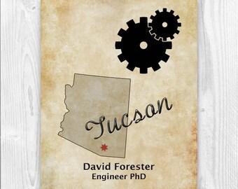Engineering Gifts, Personalized Engineer Gift, Engineering graduation, Engineer Tucson Arizona map, Dictionary art