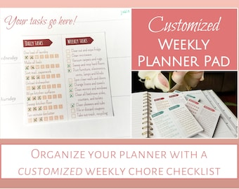 CUSTOMIZED Sticky Note Weekly Planner Pads: A week of chores on a sticky note!  {Free shipping with purchase of Household Printables 2.0}