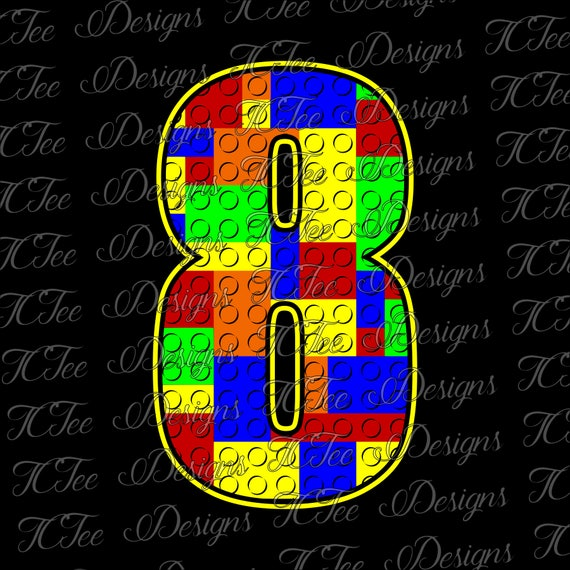 Lego 8 Lego Numbers SVG Design Download Vector Cut File