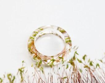 Green moss resin ring, Terrarium ring, Nature ring, Nature gift for her