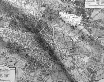 Paris map fabric etsy paris map fabric plan de paris paris map black and white by peacoquettedesigns vintage gumiabroncs Image collections