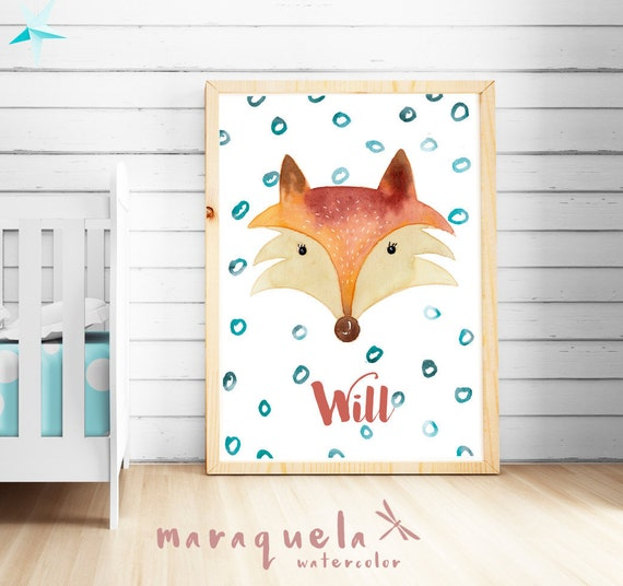 Custom FOX for kids, Baby Boy illustration in watercolor.