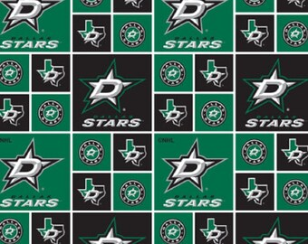 NHL DALLAS STARS  licensed Patchwork Hockey 100% cotton fabric material you choose length for Crafts, Quilts, clothing and Home Decor