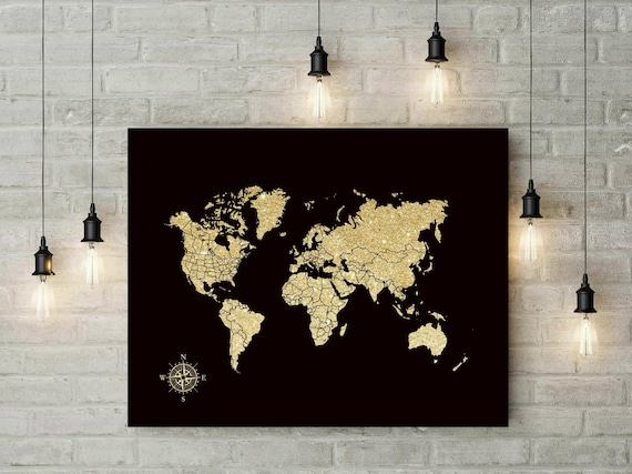 Canvas push pin map foam board world map travel world map gumiabroncs Images