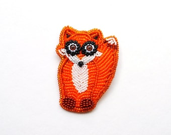 Red fox embroidered brooch Funny love gift|for|girlfriend Sitting fox pin Beaded brooch animal Sitting fox brooch Large brooch Animal brooch