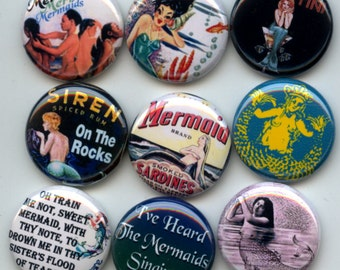 "MERMAIDS Siren of the Sea 9 Pinback 1"" Buttons Badges Pins"
