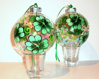 4 Leaf Clover Glass Christmas Balls Hand Painted Ornaments  2 -4 inch Christmas Balls Baubles Shamrocks St. Patrick's Day St, Paddy's Day