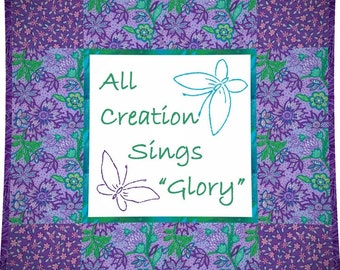 GLORY --- Hand Embroidery E-Pattern Printable Download Pdf Diy Free Shipping Simple Purple White Blue Green Easy to Do Christian Home Decor