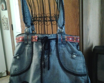 large recycled jean skirt tote