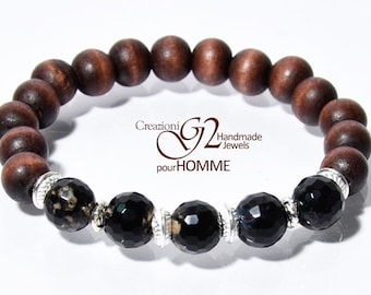 Agate bicolored Wood Bracelet Homme