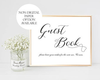 Printable Guest Book Wedding Sign, Please Sign Our Guest Book Sign, Guest Book Sign Digital, Wedding Guest Book Sign, Printable Wedding Sign