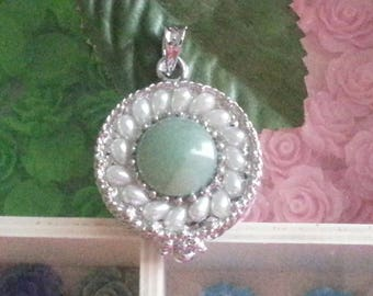 1 pendant gemstone aventurine cabochons with glass beads, flat round, mixed stone, 44 x 34 x 10