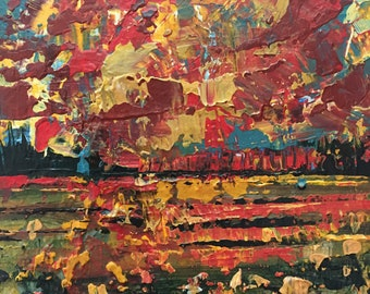 "3""x 3"" Abstract Landscape on Wood Panel 35"