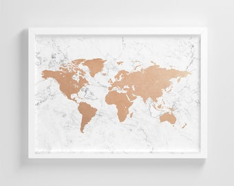 World map poster etsy white marble world map frameless poster illustration art print stylish home decoration wall art nursery decor gumiabroncs Image collections