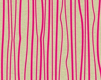 Andover - Tiger Plant COTTON/LINEN - Seagrass Stripe - Peony