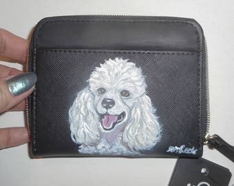 White Poodle Dog Hand Painted Leather Coin Purse  Pouch Mini RFID lined wallet Identity Theft protection