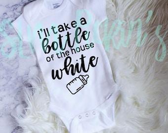 Wine Baby Onesie, Bottle House White Baby Onesie, Funny Baby Onesie, White Onesie Color Vinyl