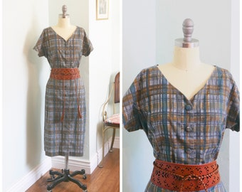 "Vintage 1950's PLUS SIZE Cotton Abstract Plaid Short Sleeve grey Dress / 50s volup dress size 4 XL 40"" waist"