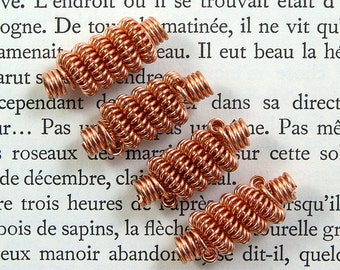 Copper coil feature beads, handmade copper wire beads for jewellery making 4 pcs, more available.