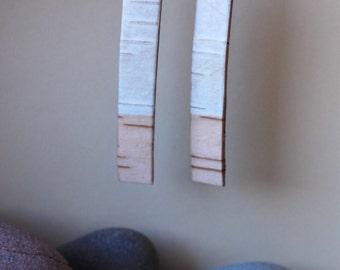 Birch Bark Earrings - Long