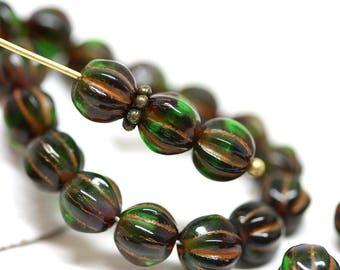 Emerald Green round beads 6mm Melon czech glass beads Dark green carved beads Green Orange inlays - 30Pc - 2504